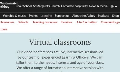Westminster Abbey's virtual classroom